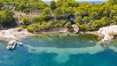 Cove at Zogeria Bay on Spetses island, Greece