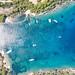 Top-Down-Blick vom Strand Zogeria auf Spetses, Griechenland