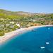 Aerial view of Agioi Anargyri Beach on Spetses, Greece