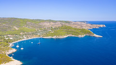 Agioi Anargyri Beach on Spetses island, Greece, a view from the north-west