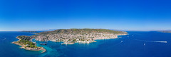 Panoramic view of the east coast of Spetses, Greece