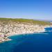 Spetses Port and Agios Mamas Beach on Spetses, Greece