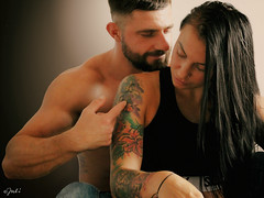 Touch me (JuliSonne) Tags: couple man woman happy laugh love tattoo athletic touching tender loving romance hand enjoy