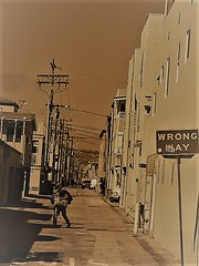 Sign of the Times (Rand Luv'n Life) Tags: odc our daily challenge wrong way sign alley view mission beach san diego california street photography buildings utility lines over growth density monochrome outdoors