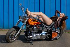 Legs! (piotr_szymanek) Tags: karolina karolinao woman young skinny portrait face bike motorbike harleydavidson outdoor legs fotogenerator fg11 longhair redhead blue 1k 20f 50f 5k 100f 10k