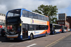 SSW 10502, 37444 and 37479 @ Exeter bus station (ianjpoole) Tags: stagecoach south west alexander dennis enviro 400mmc sn65zhu 10502 200mmc sn16osu 37444 yx68uug 37479 exeter bus station