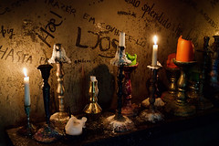 A shrine to great Icelandic food, Fiskfélagið (Fish Company), Reykjavík (jhberger505) Tags: candles restaurant graffiti