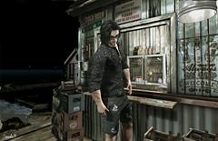 Late Night (Sadwolf SL Photos) Tags: tmd equal10 chucksize beach bar beer shades shorts shirt peer sl photography slfashion slblogger secondlife avatar virtualworld mesh bento slnewreleases voodooland