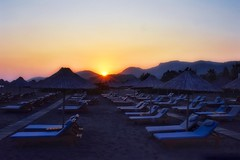 At the end of the day (Nige H (Thanks for 25m views)) Tags: nature landscape beach sunset sundown sunbeds sunloungers parasols turkey sarigerme hiltondalamanresortspa