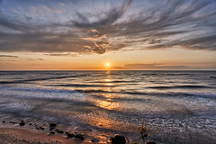 Sunset autumn colors (Marcin Frączek) Tags: sky bodyofwater horizon sea sunset ocean sunrise shore afterglow wave cloud coast water beach evening morning dusk windwave calm reflection tide sun dawn sunlight redskyatmorning tropics bay photography stockphotography wicie darłowo polska morze bałtyk plaża fale zachódsłońca