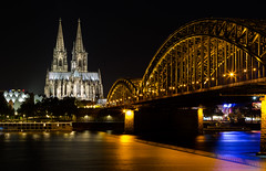 Köln (olijaeger) Tags: cologne dom kölnerdom steelbridge structure nighttime night cityscape travel nachtfotografie rhein river colors nacht reflection exposure nightphotography building bridge church kirche