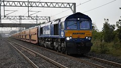 Marmite One (TimboM) Tags: wcml actonbridge actonbridgestation class66 66727 gbrf gbrailfreight freighttrain freight 6x41 6l48 cartrain cartic stva ford ipa celebrity speciallivery maritimeone