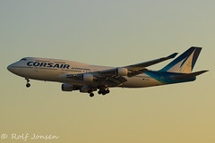 F-HSEA Boeing 747-400 Corsair Orly airport LFPO 13.08-19 (rjonsen) Tags: plane airplane aircraft aviation airliner jumbojet queen skies dusk golden hour light flying landing