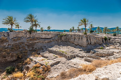 Ruins at the Mountain of Meguido National Park (SCSQ4) Tags: favorite favoritepicture guidedtour hike historic historicplace israel israelbibletours mctv meguido meguidonationalpark ministryofchristthetruevine mountain palmtrees ruins saharsaado tour travel vacation