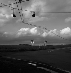 Intersection, Oregon (austin granger) Tags: intersection oregon clouds storm sign wires gophers reflection puddle topography square film gf670 road