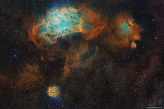Fireworks in Sagittarius (Terry Hancock www.downunderobservatory.com) Tags: qhyccd qhy367c astronomy astrophotography astroimaging sky space lagoon trifid nebulae sagittarius grandmesaobservatory milkyway universe cosmos takahashi