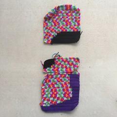 Two and-a-half of sixteen panels D (crochetbug13) Tags: crochet crocheted crocheting dayofthedeadcrochetyarnbomb crochetyarnbomb doublecrochetpanel doublerainbow