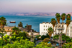 Sea of Galilee is our Hotel Room View! (SCSQ4) Tags: cloudy emilyshotel favorite favoritepicture hazy hotel hotelroomview israel israelbibletours mctv ministryofchristthetruevine mountains palmtrees sailing seaofgalilee ship sunset tiberias tour travel twilight vacation view