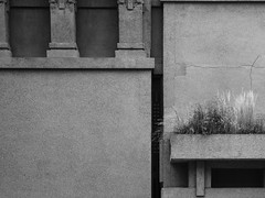 Prairie on the Prairie Style (Nick Condon) Tags: abstract architecture blackandwhite concrete franklloydwright oakpark olympus45mm olympusem10 prairiestyle wall