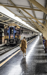 Just an ordinary morning in Thailand (www.ownwayphotography.com) Tags: travel train station roof platform waiting vintage people transport old architecture europe hurry travelers many frankfurt electricity historic passengers landmark depart rails empty sun arriving bag crowd thailand monk