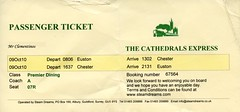 00a Cathedrals Express Premier Dining Passenger Ticket London  Euston-Chester  img232 (Clementinos2009) Tags: 2010cathedralaexpress6233duchessofsutherlandlondoneustontochester9thoctober steamdreams