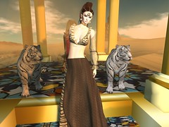 Entrance no.414 (Curiosse) Tags: firestorm august 2019 secondlife tigresse longskirt luxeparis top sleeves brown beautiful empower femenine gold