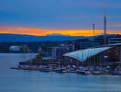 Sunset over Tjuvholmen. Oslo