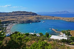 blue sea :) (green_lover (your COMMENTS are welcome!)) Tags: sea lindos rhodes rodos greece landscape bay town travels