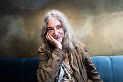 Patti Smith, Cafe, Paris 2 (Bryan Appleyard) Tags: patti smith paris cafe hair smile rockstar singer old turquoise leicaq pattismith becausethenight horses