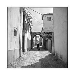 groceries • ponte da barca, portugal • 2019 (lem's) Tags: ponte da barca portugal groceries courses rue street arc arche old lady grand mère rolleiflex t