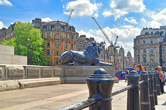 Trafalgar Square..Happy Fence Friday (HFF), (Manoo Mistry) Tags: london europe englanduk athena statue goldenstatue fence happyfencefriday trafalgarsquare lion sky