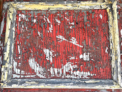 Pièce de Résistance (Halvorsong) Tags: rustandcrust crust paint art wow masterpiece cool weathered urbex time frame framed composition contrast old explore discover closeup red redandwhite peeling projectamerica classic vintage halvorsong abstract