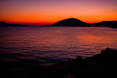 Island sunset..... (Dafydd Penguin) Tags: orange sun sunset water sea island mediterranean greece saronic gulf salamis night after dark leica m10 35mm summicron f2 cron asph