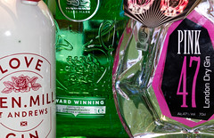 Looking Close on Friday #1 - three.   Three bottles of gin (alisonhalliday) Tags: gin drink bottles macro closeup alcohol canoneos77d sigma105mm pink green white cmwdpink cmwd colorfulworld