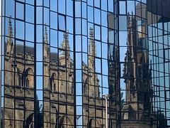 Church reflections (markshephard800) Tags: mirror kirche batiment eglise urban city scotland glasgow glass reflections church architecture
