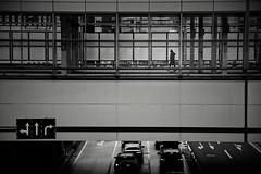 One person (reiko_robinami) Tags: street streetphotography silhouette shadow station monochrome urban building platform blackandwhite cityscape yokohama japan