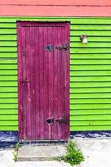 Purple Door (Karen_Chappell) Tags: door house home nfld city urban building jellybeanrow stjohns downtown architecture purple green trim wood wooden clapboard paint painted canada canonef24105mmf4lisusm newfoundland atlanticcanada avalonpeninsula eastcoast blue pink