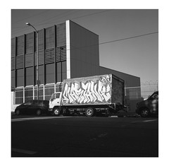(ADMurr) Tags: la truck grafitti bw black white square hasselblad 80mm zeiss planar fuji acros film 6x6 dad967