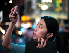 Faces of Times Square, Manhattan (diego_russo) Tags: diegorusso manhattan timessquare newyork bokeh japanesegirl canon50mm14 canoneos6dmarkii asianbeauty geisha