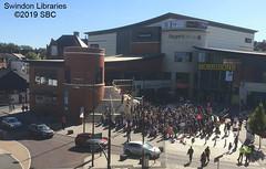 2019: Environmental Protest at Regent Circus, Swindon (Local Studies, Swindon Central Library) Tags: 2019 2010s colour sbc swindon wiltshire regentcircus morrisons cinema cineworld