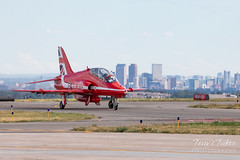 A Red Arrow taxis in front of the Mile High City