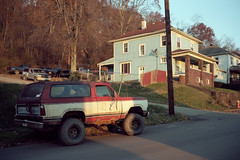 (patrickjoust) Tags: fujica gw690 kodak portra 160 6x9 medium format 120 rangefinder 90mm f35 fujinon lens manual focus analog mechanical patrick joust patrickjoust usa us united states north america estados unidos small town steel industry river valley west virginia wv weirton blue house home old truck auto automobile vehicle parked red white trees early morning sunrise