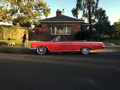 Twilight Red (misterbigidea) Tags: convertible urban dusk customcruiser streetscenic walkingthedog neighborhood beauty hotwheels classic vintage car auto impala red chevrolet chevy