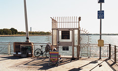 Bay Ridge (neilsonabeel) Tags: nikonfm2 nikon nikkor film analogue bayridge brooklyn newyorkcity statenisland verrazanobrigdge pier water fishing sign