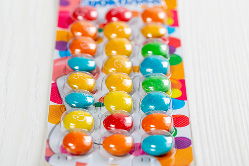 Colorful children's candy in a blister