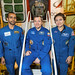 The next International Space Station crew poses in front of Soyuz spacecraft
