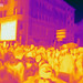 Thermal imaging of the numerous demonstrators during the climate strike on the streets of Cologne