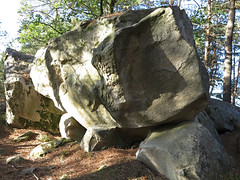 protruding nose (squeezemonkey) Tags: france castlestafftrip fontainebleau sandstone boulder shadow texture rock woodland landscape