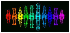 Rainbow Chess (f_gray1) Tags: rainbow chess set colours colourful king queen bishop knight rook pawn mirror reflection