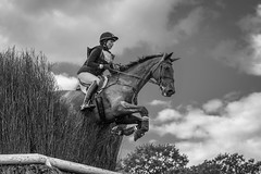 Burghley Horse Trials 2019 (sho5572) Tags: 5 sportsphotographer sportsphotography lincolnshire stamford 2019 eventing crosscountry equestrianphotographer equestrianphotography equestrian xc lrbht autumn september burghleyhorsetrials blackwhite horse jump bw rider
